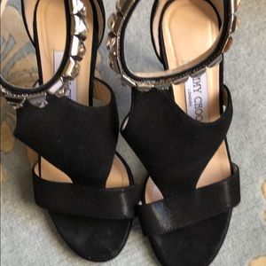 Authentic Jimmy Choo black/crystal evening sandal.